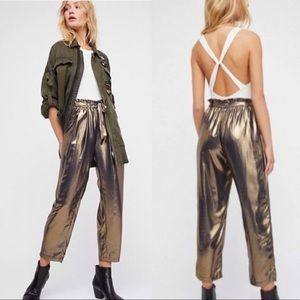 Free People Slinky Metallic Cropped Harem Pants